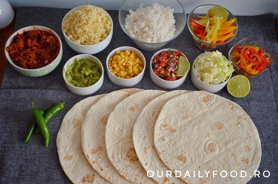 Burrito vegetarian cu fasole