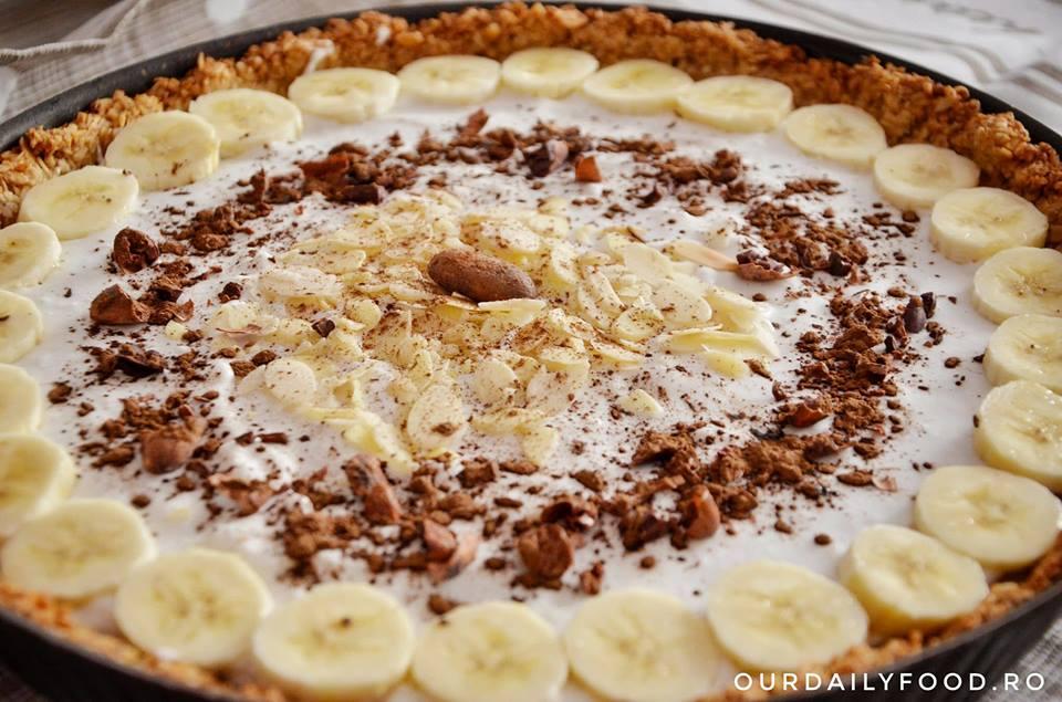 Tarta vegana cu banane si caramel - Banoffee pie