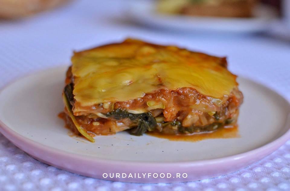 Lasagna vegana cu dovlecei si vinete(cu sau fara foi)