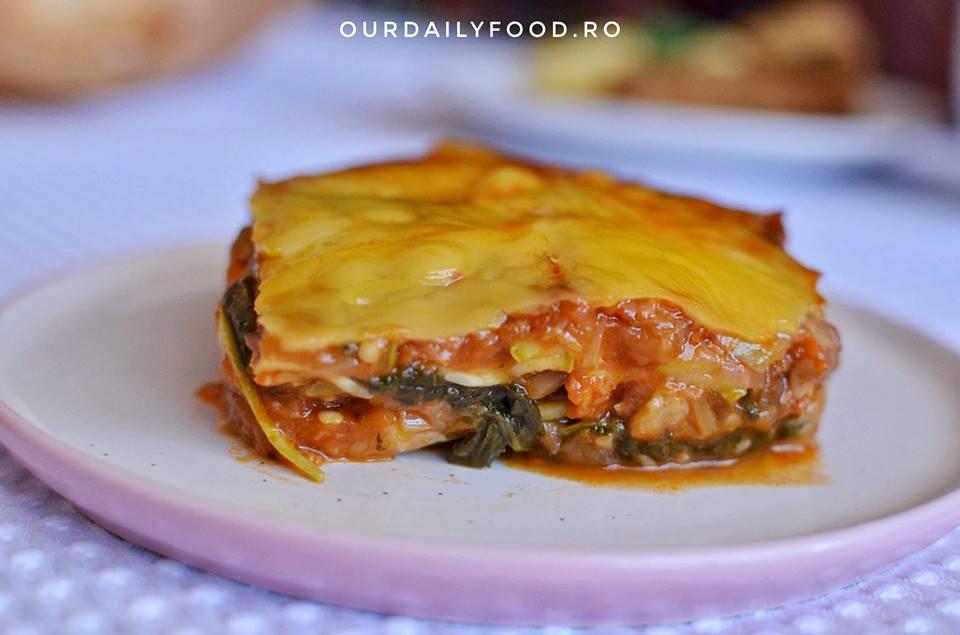 Lasagna vegana cu dovlecei, vinete si spanac(cu sau fara foi)