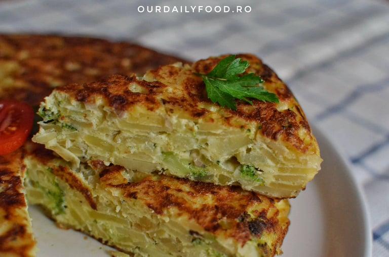 Tortilla spaniola cu cartofi, brocoli si ciuperci